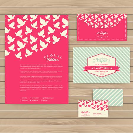 paloma: Conjunto de tarjetas florales de la boda de la vendimia en la textura de madera, invitaciones. Invitaci�n de la boda. Invitaci�n, sobre, tarjeta, bandera. Evento Matrimonio. Valentine, seamless pattern es enmascarado y completa.