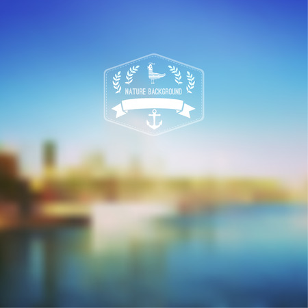 skyblue: Vector seaside landscape with hipster badge. Outdoor. Barcelona seafront view with hipster badge. Vacation, travel, tour blurry backdrop. Blurred. Hexagon badge label,   sky-blue, reflected in water