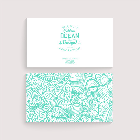Vector simple  business card template with decorative ornament, original design, wave decoration, minimalistic design, seamless pattern is masked and complete. Design your own card, corporate identity Illustration