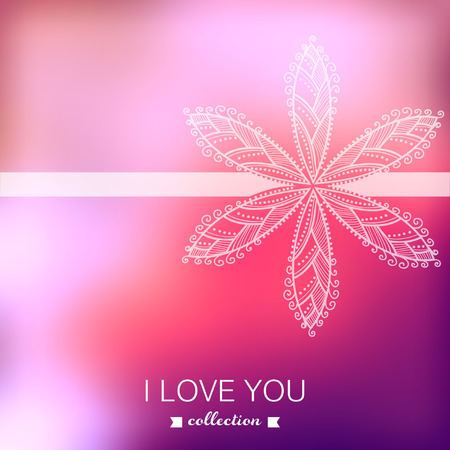 Valentine's Day background. Blurred template, holiday. Invitation card in a tribal style. Pink stylish backdrop for you text. Greeting card,wedding invitation. Vector