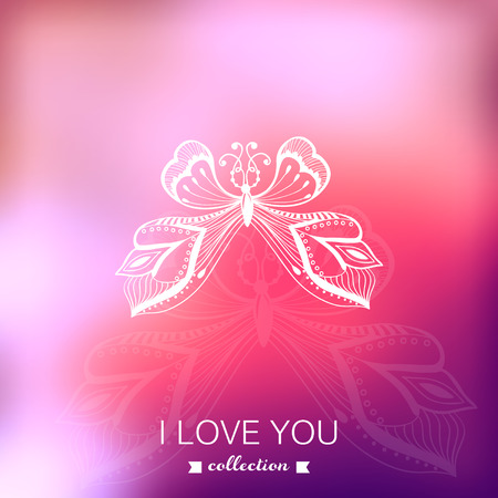 Valentine's Day background. Blurred template, holiday. Invitation card. Pink stylish backdrop for you text. Greeting card,wedding invitation. Butterfly. Vector