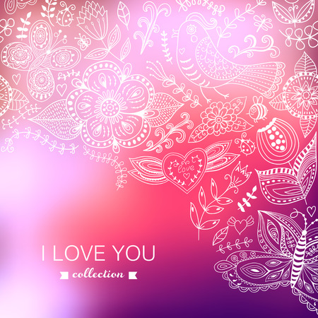 Vector Valentines Day background. Blurred template, holiday. Invitation card in doodles style. Pink stylish backdrop for you text. Greeting card,wedding invitation. Floral corner, I love you. Vector