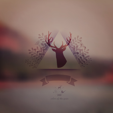 Vector landscape, nature web and mobile template. Corporate website design. Multifunctional media backdrop.Deer head. Blurred. Vector blurred background. Triangle floral badge. Arrows. Hipster Vector