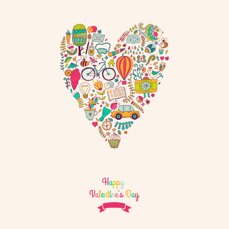 Vector doodles heart, valentines day card. Kids, travel, enjoy life concept. Greeting card. Various travel vacation icons arranged in heart shape, childish layout. Romantic backdrop,  sweet design. Vector