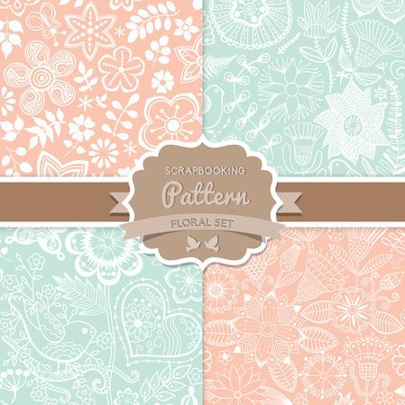 4 つのシームレスなベクター パターン。シックなみすぼらしい。花のパターンが (シームレスにタイリング)。壁紙、パターンの塗りつぶし、web ペー