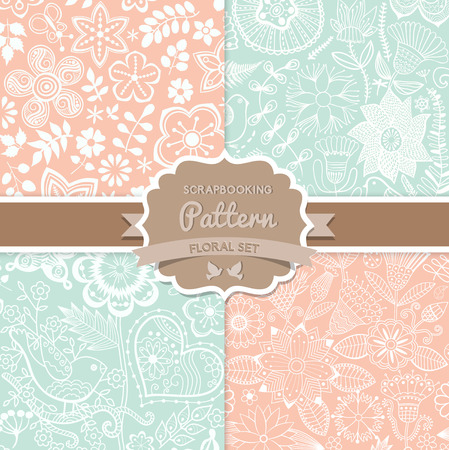 4 seamless vector patterns. Shabby chic. Floral patterns (seamlessly tiling). Can be used for wallpaper, pattern fills, web page background,surface textures. Floral seamless backgrounds combo.