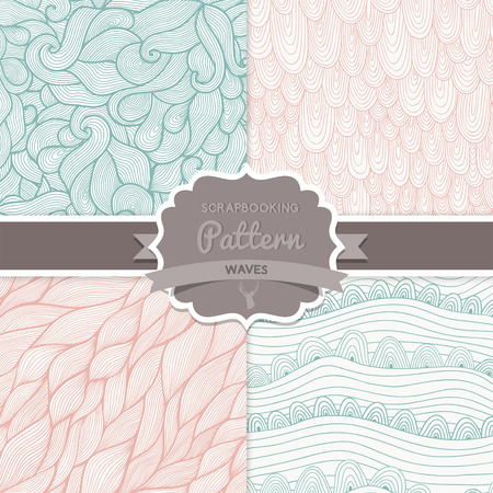 Vector seamless wave hand-drawn pattern, waves background (seamlessly tiling).Can be used for wallpaper, pattern fills, web page background,surface textures. Vector hand-drawn waves texture Illustration