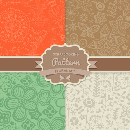 4 seamless vector patterns. Shabby chic. Floral patterns (seamlessly tiling). Can be used for wallpaper, pattern fills, web page background,surface textures. Floral seamless backgrounds combo. Vector
