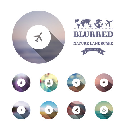 Vector web and mobile interface template. Corporate website design. Minimalistic multifunctional media backdrop. Vector. Editable. Blurred. Circle badge label, mountain landscape. Options, Icon Vector