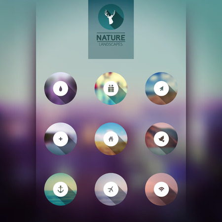 Vector web and mobile interface template icons, blurred circles landscape. Corporate website design. Minimalistic multifunctional media backdrop. Editable. Blurred.  Vector