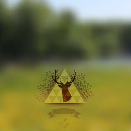 Vector landscape, nature web and mobile template. Corporate website design. Multifunctional media backdrop. Deer head. Vector blurred background. Triangle floral badge label. Arrows. Hipster. Vector