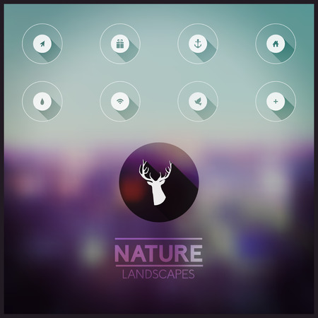 Vector blurred natural landscape. Icons (long shadow) on blurry background, flat minimalistic design, identity. Hipster. Deep head. Vector