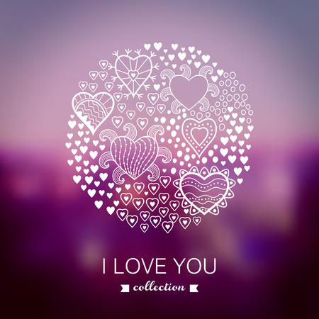 Vector Valentines Day background, round, circle made of hearts.Blurred template, holiday. Invitation card in a tribal style. Pink stylish backdrop for you text. Greeting card,wedding invitation. Vector