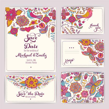 인쇄 결혼식 초대장 템플릿 : 초대장, 봉투, 감사 카드, 날짜 카드를 저장합니다. 결혼식을 설정합니다. RSVP 카드. 결혼 이벤트. 발렌타인, 원활한 패턴