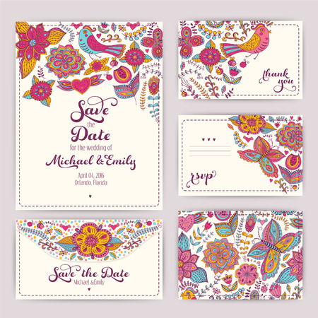 Printable Wedding Invitation Template: invitation, envelope, thank you card, save the date cards. Wedding set. RSVP card. Marriage event. Valentine, seamless pattern is masked and complete. Vector