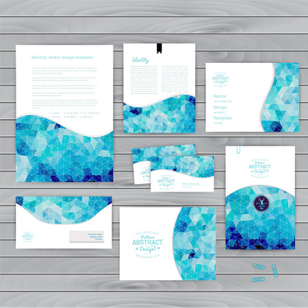 Vector corporate identity, wave pattern. Abstract backdrop.Geometric banner design template. Brand, visualization, corporate identity business set. Identity Design Template. Card, envelope. Ilustração