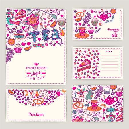 Tea Branding Design. Coffee and Tea design set cards. Sweet pattern. Coffee, tea, background, brand. Tea label, packing. Banner. Greeting floral card. Invitation. Tea,sweets seamless doodle pattern Vector