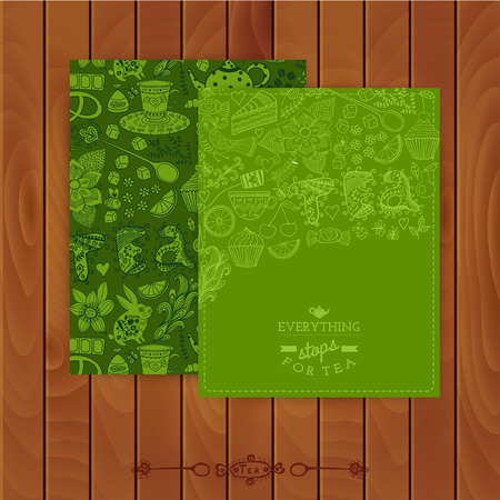 Green tea Branding Design. Set of floral cards. Sweet pattern. Coffee, tea, background, brand. Tea label. Banner. Pattern complete. Use for invitations. Tea,sweets seamless doodle pattern. Menu. Stock Vector - 26310841