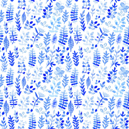 Vector watercolor texture with flowers. Floral pattern. Original floral background. Blue winter pattern. Seamless texture. Flowers watercolors. Ornament. Painting. Tileable vector pattern. Vector