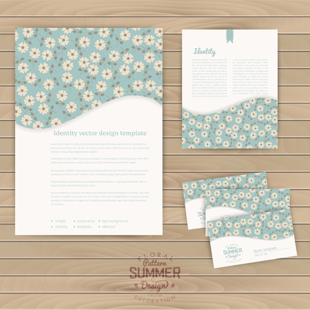 Vector set of floral vintage wedding cards on wood texture, invitations. Envelope, card, banner. Marriage event. Seamless pattern is masked, complete. Tileable floral texture. Daisy. Stripes pattern Vector
