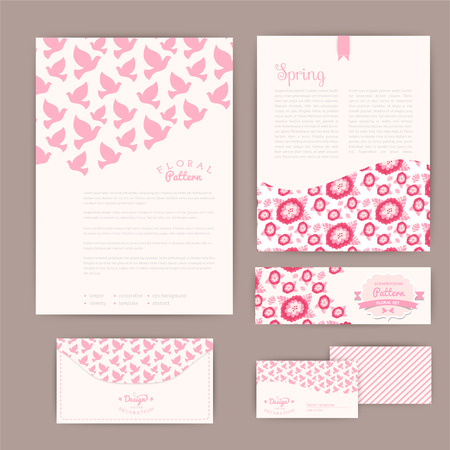 Set of floral vintage wedding cards, invitations or announcements. Wedding invitation. Invitation, envelope, card, banner. Marriage event. Valentine, seamless pattern is masked and complete. Vector