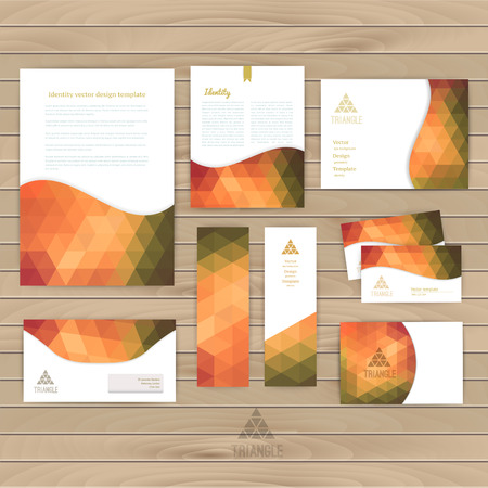 Vector corporate identity, wave pattern. Abstract backdrop.Geometric banner design template. Brand, visualization, corporate business set. Identity Design Template. Card, envelope. Wood texture