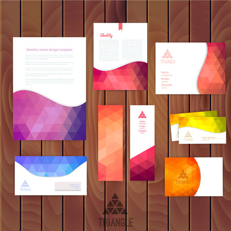 head paper: Vector corporate identity, wave pattern. Abstract backdrop.Geometric banner design template. Brand, visualization, corporate business set. Identity Design Template. Card, envelope. Wood texture