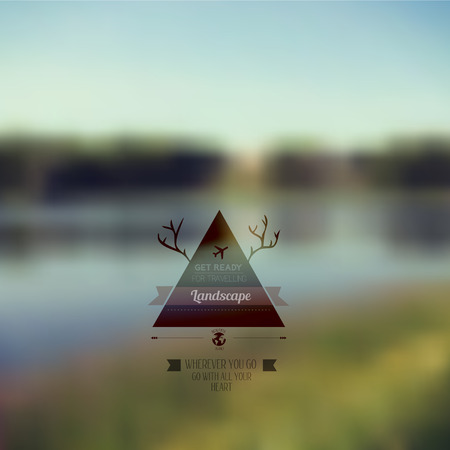 hunting: Vector forest landscape with triangle badge. Outdoor. Countryside nature with hipster badge. Forest. retro label design with deer horns. Retro backdrop. Blur. Fishing. Fishing Label