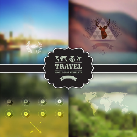 Set of four vector landscape with badge. Vector green landscape with hipster badge. Mountain view. Nature landscapes. Travel, ecology, eco concept. Map. Icon. Web template. Corporate website design.  Vector