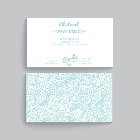 Vector simple  business card template with decorative ornament, original design, wave decoration, minimalistic design, seamless pattern is masked and complete.  Vector