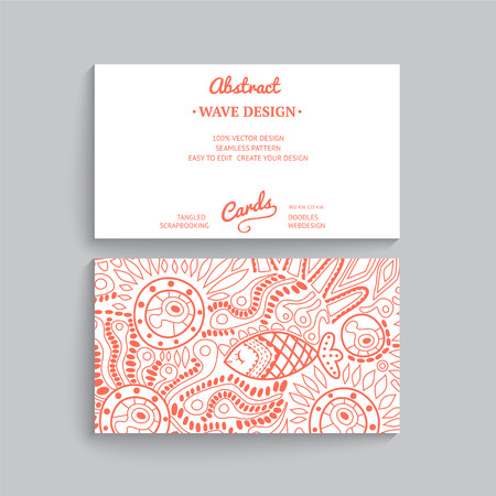 webdesign template: Vector simple  business card template with decorative ornament, original design, wave decoration, minimalistic design, seamless pattern is masked and complete. Illustration