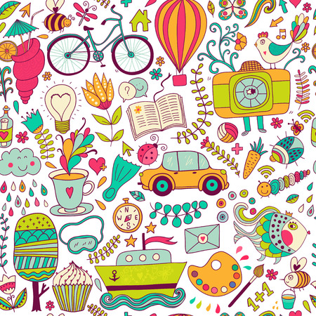 Vector seamless pattern, childish doodles. Pattern ,set of different school, travel, romantic things. Enjoy life concept. Use for wallpaper, pattern fills, web page background,surface textures. Vector