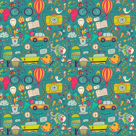 벡터 원활한 패턴, 유치한다면. 패턴, 다른 학교, 여행, 낭만적 인 것들의 집합입니다. 삶의 개념을 즐길 수 있습니다. 벽지, 패턴 칠, 웹 페이지 배경,