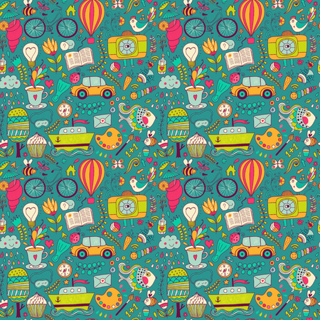 Vector seamless pattern, childish doodles. Pattern ,set of different school, travel, romantic things. Enjoy life concept. Use for wallpaper, pattern fills, web page background,surface textures. Illustration
