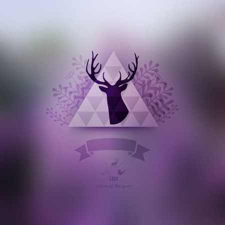 Vector landscape, nature web and mobile template. Corporate website design. Multifunctional media backdrop. Deer head. Vector blurred background. Triangle floral badge label. Arrows. Hipster. Purple.  Vector