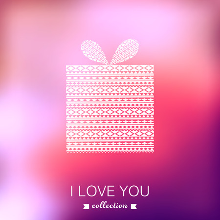 wedding gift: Gift box. Vector Valentines Day background. Blurred template, holiday. Tribal style. Pink stylish backdrop. Greeting card,wedding invitation. Holiday Gift Box. Vector illustration Illustration