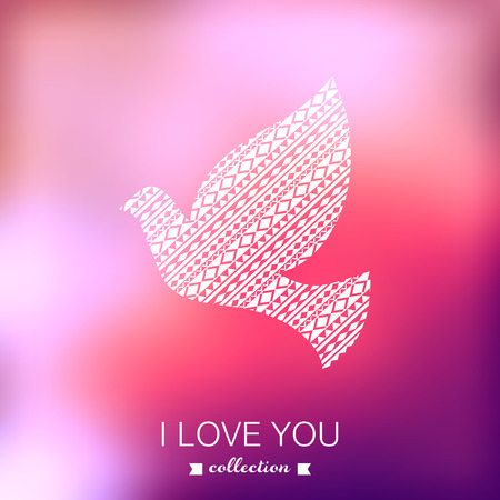 Vector dove, Valentines Day background. Pigeon. Blurred template, holiday. Invitation card in a tribal style. Pink stylish backdrop for you text. Greeting card,wedding invitation. Vector