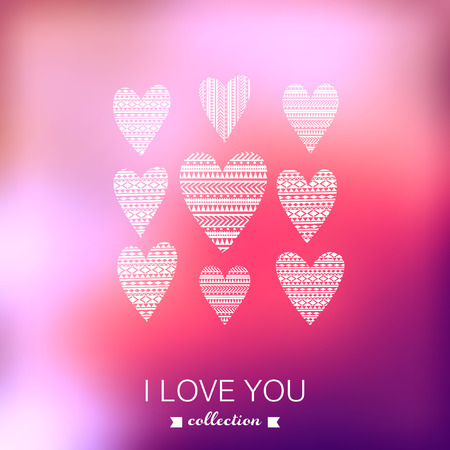 Vector Valentine's Day background. Blurred template, holiday. Invitation card in a tribal style. Pink stylish backdrop for you text. Greeting card,wedding invitation. Vector