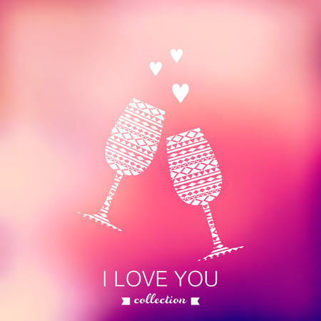 wine  shabby: Vector champagne silhouette, Valentines Day background. Blurred template, holiday. Invitation card. Pink stylish backdrop for you text. Greeting card,wedding invitation. %u0421elebrate. Champagne glasses. Illustration