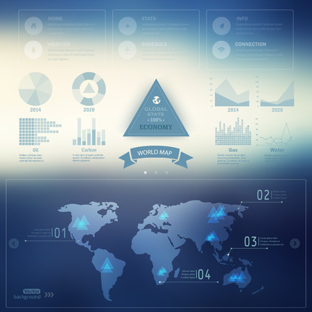 Vector map, web and mobile template. Corporate website design.  Web media backdrop.  Infographics with data icons, economic statistics. Blurred. Background. Triangle badge.  Vector