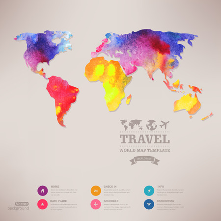 Vector watercolor map, web and mobile template. Corporate website design.  Web media backdrop. Travel. Blurred. Background. Calligraphy badge. Website icons template. Vector