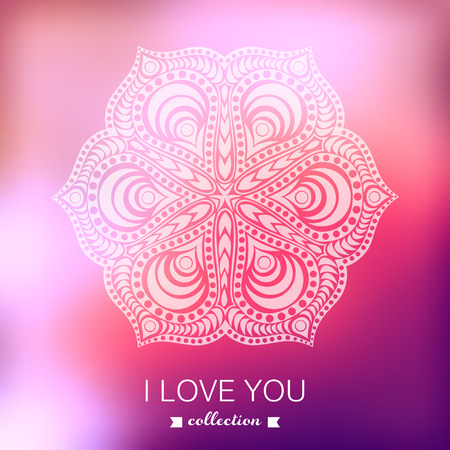 Vector Valentine's Day background. Blurred template, holiday. Invitation card in a tribal style.  Vector