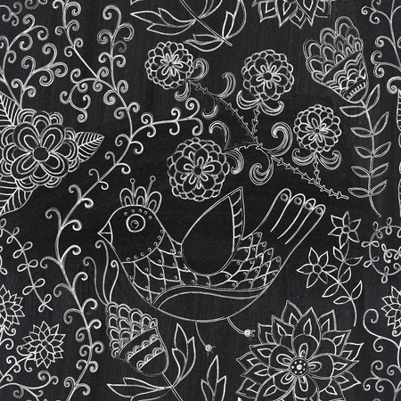 Chalkboard seamless floral pattern. Copy that square to the side,youll get seamlessly tiling pattern which gives the resulting image the ability to be repeated or tiled without visible seams. Banco de Imagens