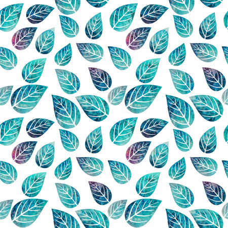 Watercolor seamless pattern on leaves theme photo