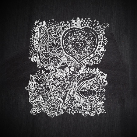Chalkboard floral lettering. Chalk style Love letters photo