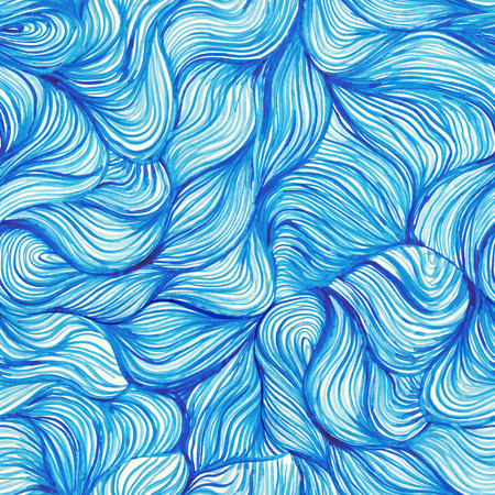 hair texture: watercolor seamless wave hand-drawn pattern