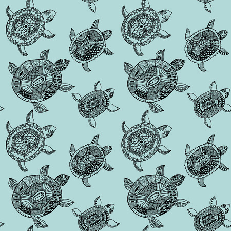 Seamless pattern with turtles. photo