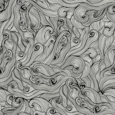 Seamless hand-drawn waves texture. Stock Photo