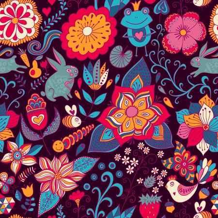 Romantic doodle floral texture. Stock Photo