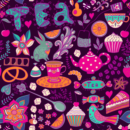 Tea,sweets seamless doodle pattern.  photo